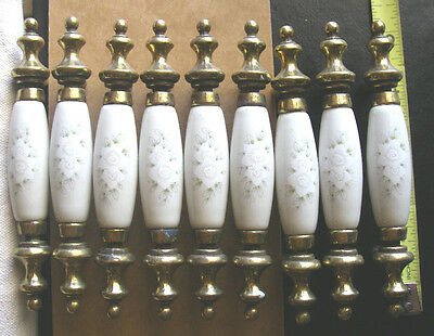 Vintage Ceramic / Porcelain White Floral DRAWER or DOOR PULLS