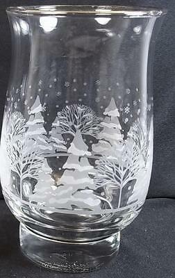 Arbys Christmas Winter White Frosted Trees Tulip Glass Tumbler Footed EXCLT