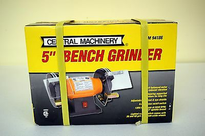 Amazing Brand New Central Machinery 5 inch bench grinder Item 94186 Must Have!