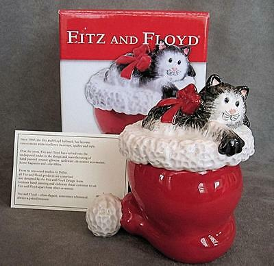 Fitz & Floyd Lidded Ceramic CHRISTMAS Kitty Claus CAT in Santa Claus HAT Box MIB