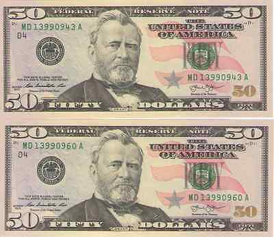 US $50 Fifty Dollar Bill 2013 Consecutive Serial Numbers Uncirculated