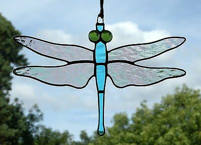 Stained Glass Ornament (Dragonfly) Iridescent Wings, sky blue body, green eyes