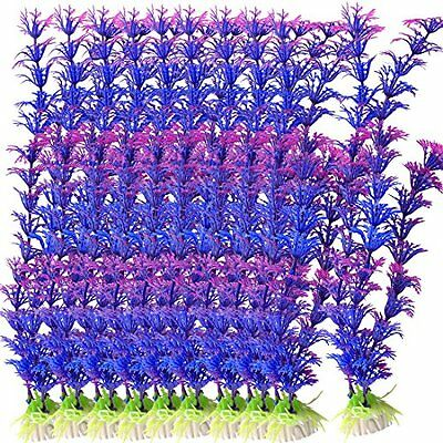 Sourcingmap Plastic Fish Tank Grass Plant Decor,10.2-Inch, Blue Purple
