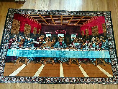 """THE LAST SUPPER TAPESTRY 72"""" x 47"""" MINT CONDITION - religious wall hanging VNTG"""