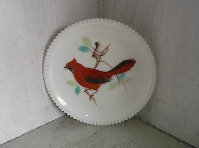 Westmoreland Beaded Edge Milk Glass CARDINAL Hand Painted Plate 7 1/2""