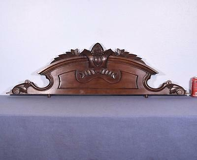 "45"" French Antique Walnut Wood Pediment/Crest"
