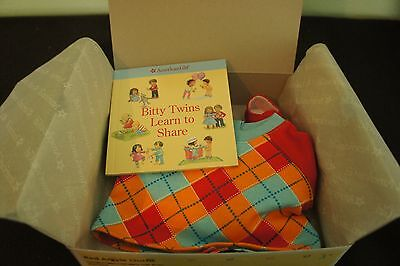 American Girl Bitty Twin Boys Red Argyle Outfit NIB