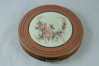 Vintage Rex Fifth Avenue Compact Large Celluloid with Enamelled Top Floral