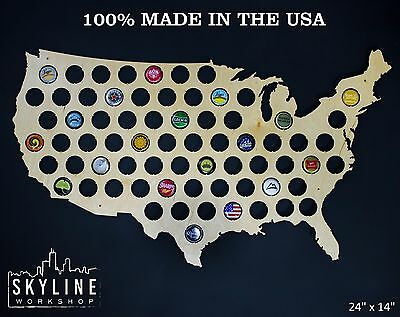 USA Beer Cap Map - SALE - United States Birch Wood Bottle Cap Map - Made in USA
