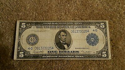 Series of 1914 Large $5 Dollar Blue Seal Federal Reserve Note Five Bill