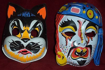 Vintage Pair Retro Plastic Halloween Masks