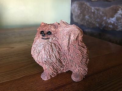 POMERANIAN FIGURINE dog~Resin Statue RED puppy Pom Collectible