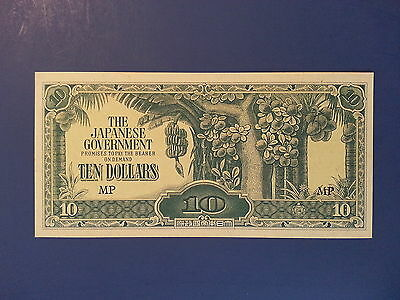 1944 UNCIRCULATED Japanese Government Issued 10 Dollar WWII Occupation Banknote
