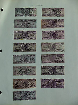 Great Britain UK QV 15 PIECES FISCAL / REVENUE STAMPS,CHANCERY COURT,Used