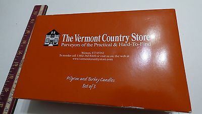 Vermont Country store Thanksgiving Candles Turkey, Girl & Boy Pilgrims wicks new