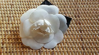 Authentic CHANEL Ivory Silk Flower Brooch, in Box, France