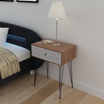 Rectangular Bed Cabinet Side Cabinet Telephone Cabinet Table with 1 Drawer Brown