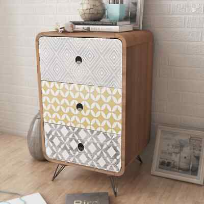 Bed Cabinet Nightstand Side Cabinet Telephone Cabinet Bedside W/ 3 Drawers Brown