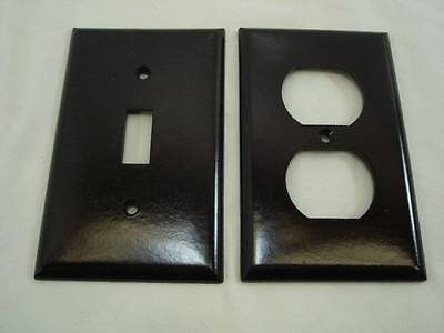 Vintage Eagle Brown Double Switch & Outlet Cover Plate NOS Mid Century #27
