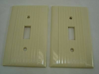 Pair of Vintage Reliance Ivory Ribbed Switch Cover Plate Mid Century Lines #5