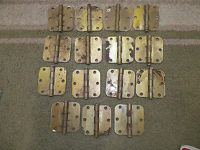 "15 Vintage National Brass Coated Metal Door Hinges Salvaged 3 1/2"" x 3 1/2"""