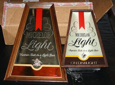 Lot of 2 70s MICHELOB LIGHT BEER Mirror & lighted SIGN Rare as a set! Bar works!