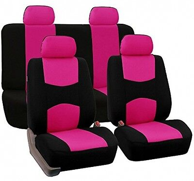 Auto Car Seat Covers Universal Fit Full Set Flat Cloth seat Protector Pink/Black