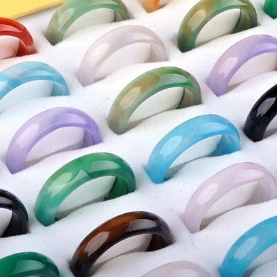 5PCS Wholesale Lots Natural Agate Gemstone Jewelry Band Rings Gift 5mm-6mm