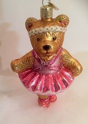 Ballerina Bear With Sparkly Pink Tutu Old World Christmas Ornament Adorable