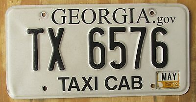 GEORGIA TAXI CAB license plate   May2012  TX 6576