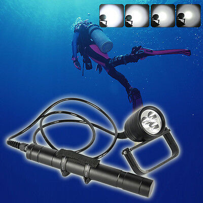 DIV10 Professional Diving Flashlight 3000LM XM-LU2 LED Canister 150M Scuba Light