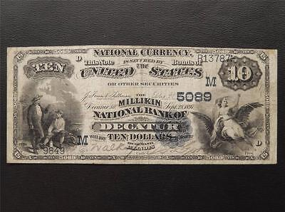 Charter 2 $10 Dollar National Currency 5089 Milikin NB Decatur Illinois IL C471C