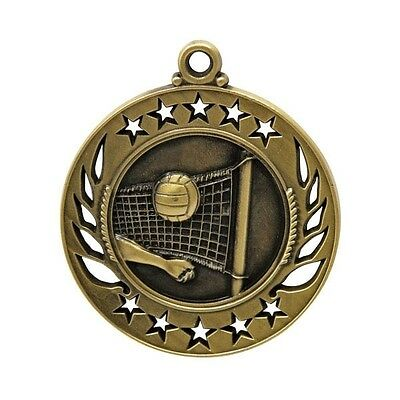 Volleyball Antique Medal Gold 50mm With Neck Ribbon Engraved FREE