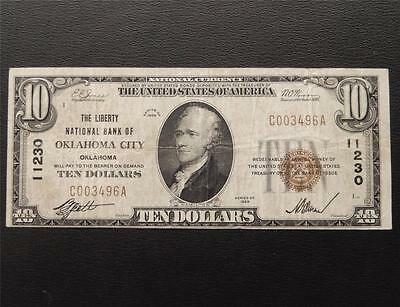 Series 1929 $10 Dollar National Currency 11230 Liberty NB Oklahoma City OK C490C