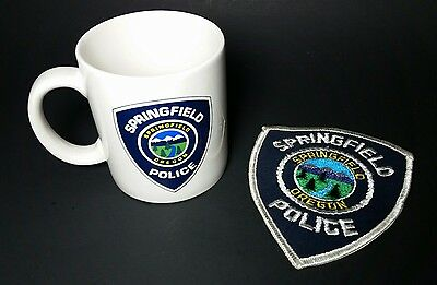 Oregon Springfield Police Patch & Mug Cup Old Cheese Cloth Vintage Free Shipping