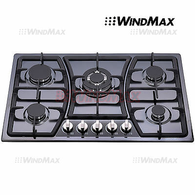 Luxury 76cm 5 Burner Stainless Steel Gas Cooktop Hob & Cast Iron Trivets - 760mm