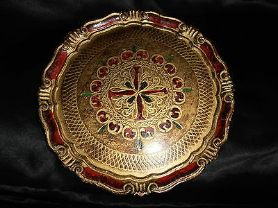 Vtg. Hand Made In Italy Decorative Florentine Wooden  Tray