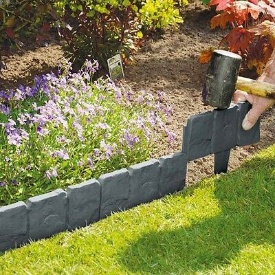 20 Pack Lakeland Cobbled Stone Effect Plastic Garden Edging Hammer-In Palisade