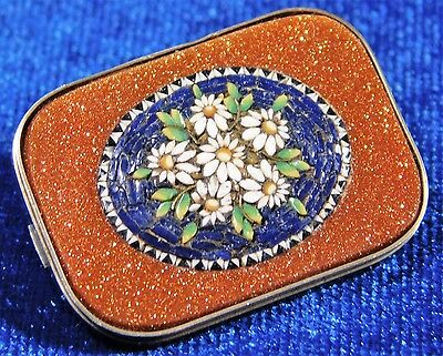 Atq Victorian Sterling Silver Goldstone Micro Mosaic Floral Pin Brooch