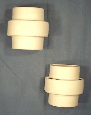 Pair Of Mid Century Style 3 Tier Half Cylinder Pottery Ceramic Wall Sconces