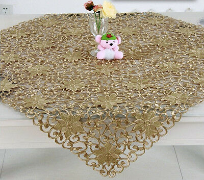 Gorgeous Gold Embroidered Delicate Floral Table Cloth 86cm Square Brand New