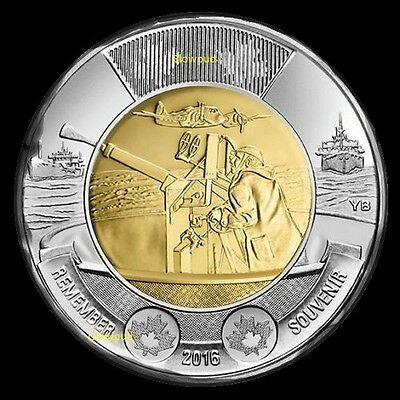 COIN CANADA TOONIE 75th ANNIVERSARY BATTLE OF THE ATLANTIC REMEMBERANCE DAY