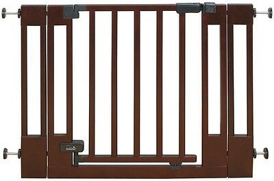 Sure & Secure Deluxe Top of Stairs Wood Walk-Thru Child Baby Gate Wood Cherry