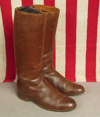 """Vintage Antique Brown Leather Horse Riding Boots Equestrian 9 3/4"""" Length Nice!"""