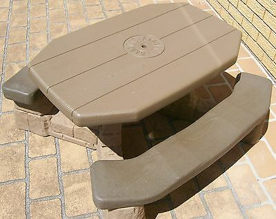 Step 2 Outdoor Plastic table/bench - immitation timber and stone/brick