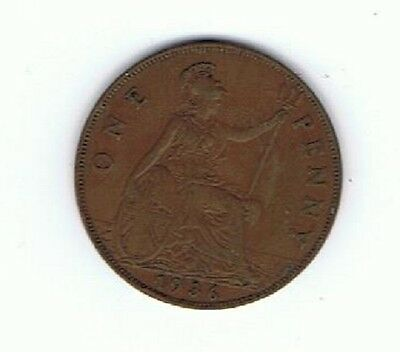 1898 Circulated British UK Great Britain One Penny