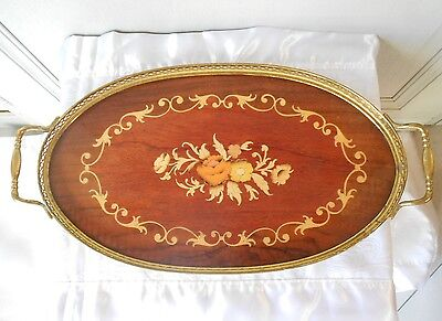 French Vintage mahogany MARQUETRY Tray w/ BRASS TOP GALLERY