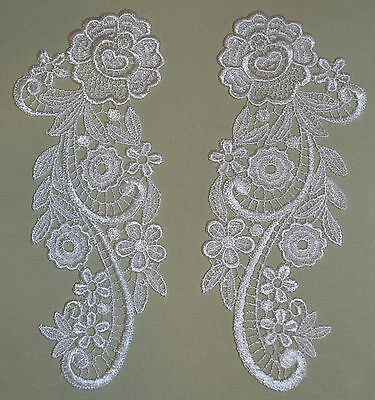 Lace Embroidered Venise Mirror Appliques - Bridal or First Communion Dress Trim