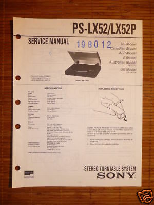 Service Manual Sony PS-LX52 Turntable ,ORIGINAL