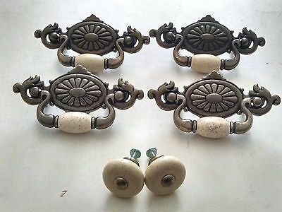 6 Vintage  Brass & Porcelain Drawer Pulls & Knobs Dresser Handles with  Hardware
